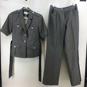 Calvin Klein Womens Suit Gray Notch Lapel